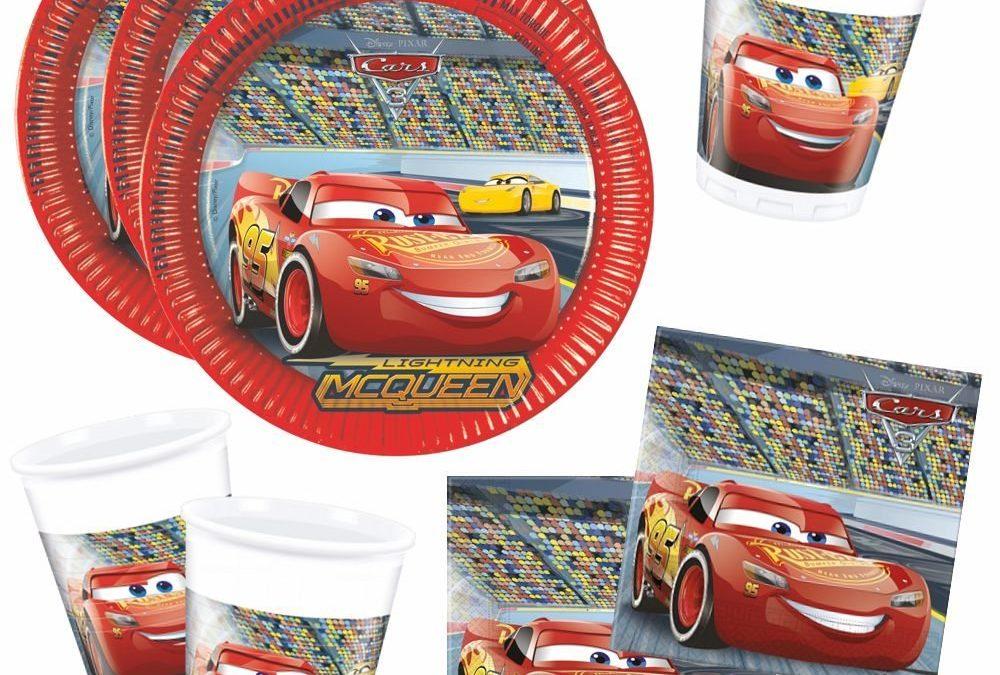 Anniversaire cars disney : vaisselle jetable, invitation cars, decoration cars, guirlande et pochettes cadeaux