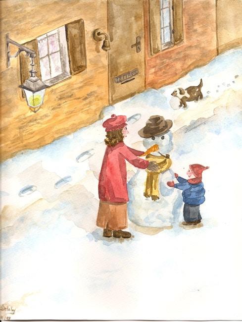 Aquarelle de Noël à peindre – Préparer ses cartes de Noël avec les enfants – Idées créatives de Noël