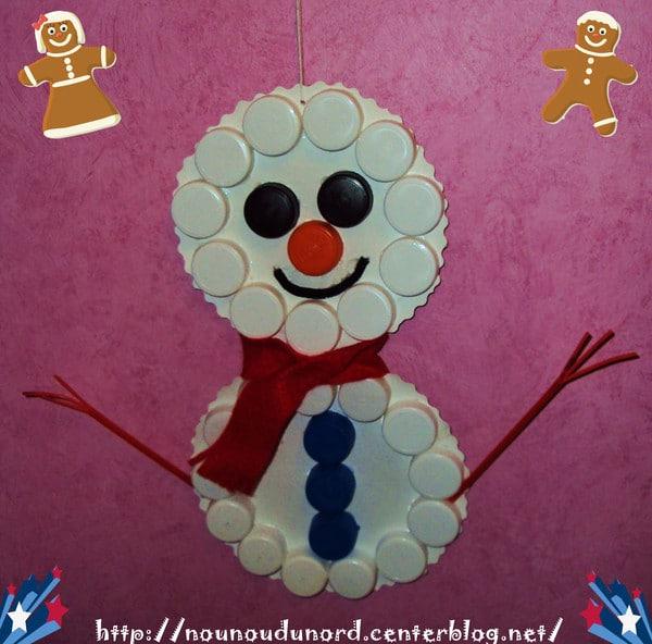 bonhomme de neige, idée bricolage de noel avec les petits chez une nounou, à l'école en petite section, au centre de loisirs, à la maison