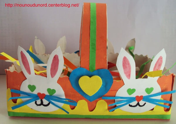 Panier et corbeille de Pâques : idées bricolage pâques avec les enfants ; activités manuelles et bricolage pâques