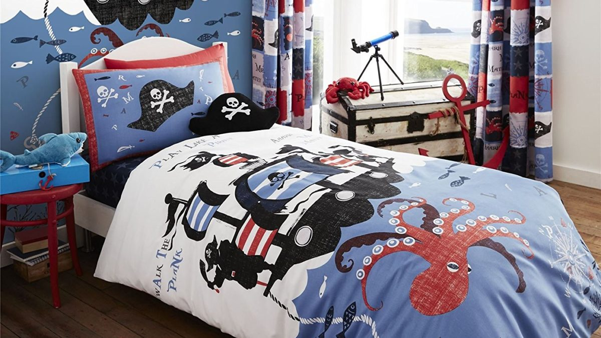 Linge de lit pour les pirates : la housse de couette pirate des caraïbes – Decoration de pirate