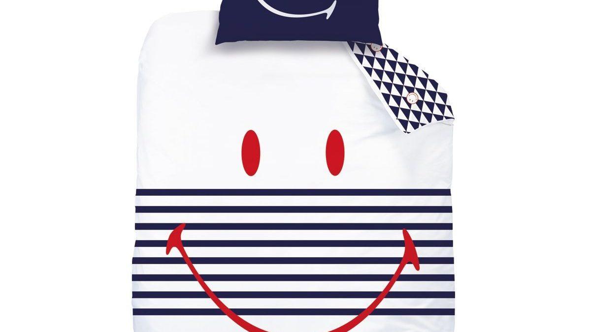 Linge de lit pour adolescent ou junior : la housse de couette Smiley pour se reveiller de bonne humeur – Housse couette ado