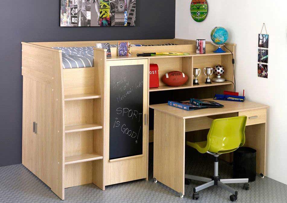Lit combiné blanc pour chambre d'enfant pas cher : lit, commode, bureau et étagère en un seul bloc – Gain de place pour chambre d'enfant