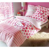 Hello kitty : housse de couette, taie d'oreiller hello kitty, parure de lit hello kitty, linge de lit enfant hello kitty