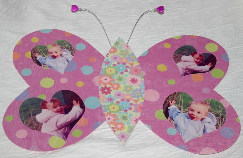 Bricolage fête des mères  avec les enfants : fabriquer un cadre papillon pour insérer des photos d'enfant