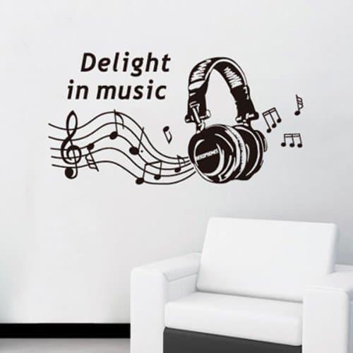 Sticker musique, decoration murale avec stickers muraux musique, rock, partition, notes, casque, musicien, instruments de musique