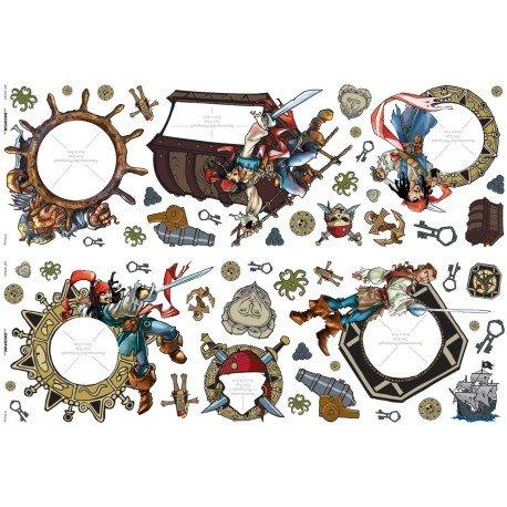 Décoration de chambre de garçon sur le thème des pirates : les stickers Pirates des CaraÎbes pour chambre de pirate