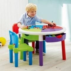 Idéal pour jouer avec des lego ou des duplo : la table ronde de construction pour enfants de 3 à 8 ans