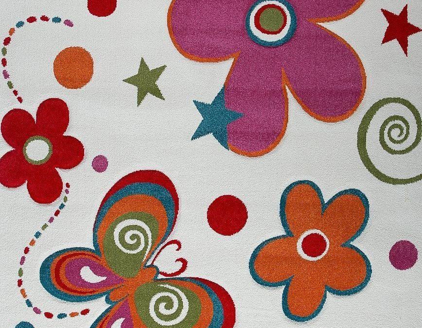 Fleurs et papillons : tapis de chambre d'enfant ou pour bébé sur le thème de la nature – Tapis chambre d'enfant