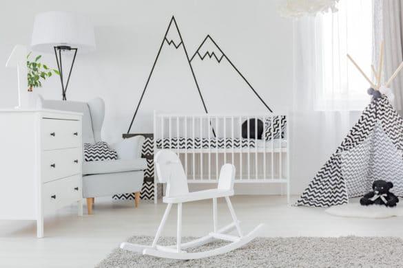 chambre enfant et bébé en noir et blanc