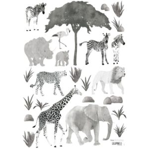 stickers animaux de la savane noir & blanc