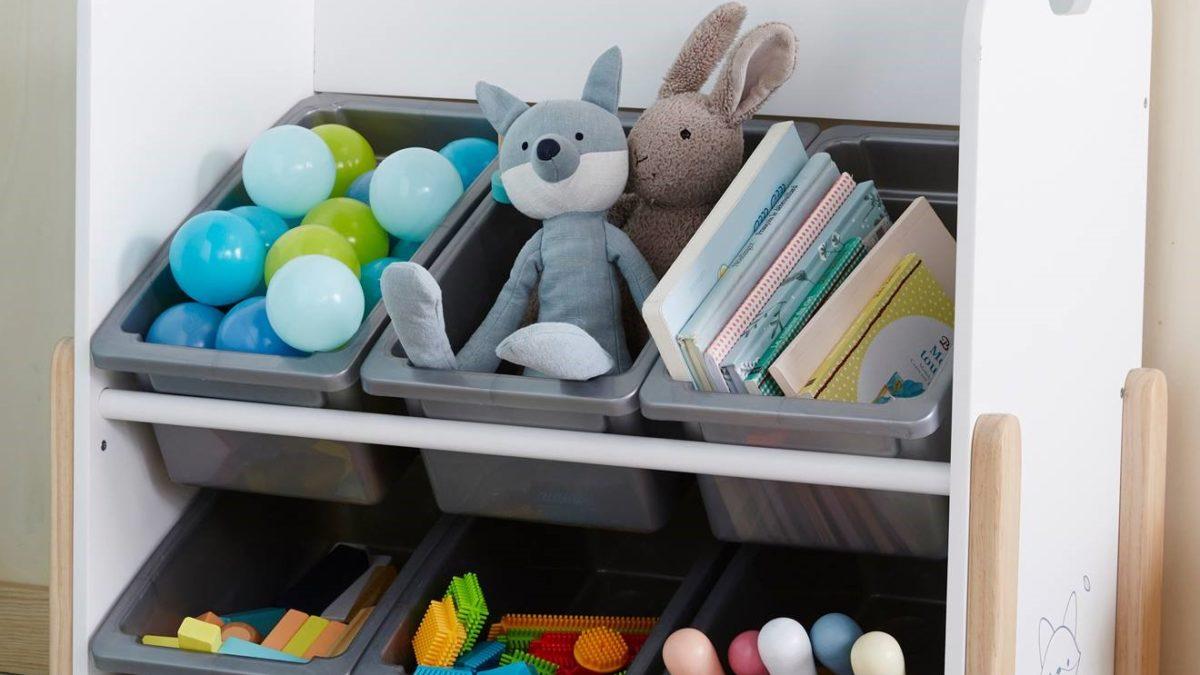 Rangement et gain de place dans la chambre d'un enfant : Etagère de rangement avec bac et espace rangement pour jouets et livres