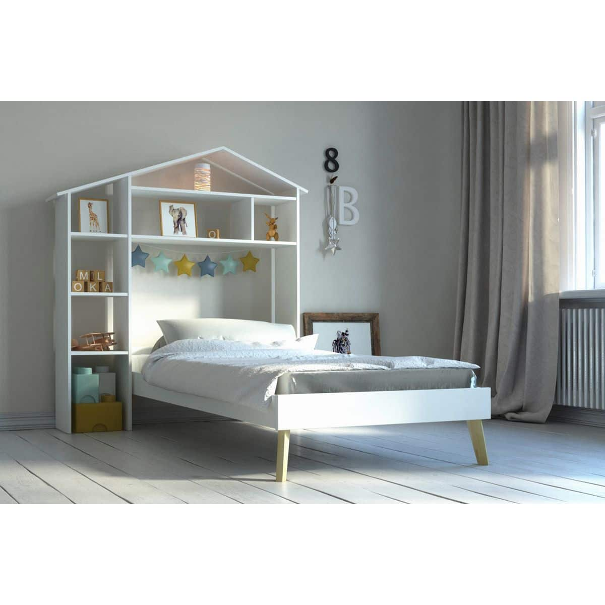 lit fille avec rangement