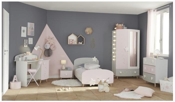 chambre fille grise et rose