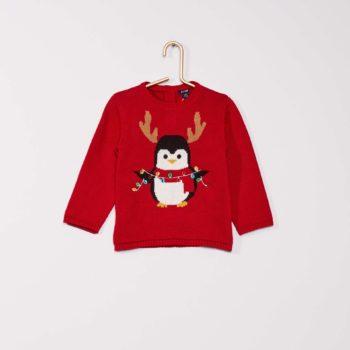 pull rouge bébé avec pingouin imprimé