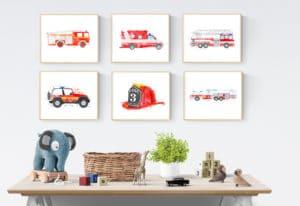affiche aquarelle pompier chambre enfant