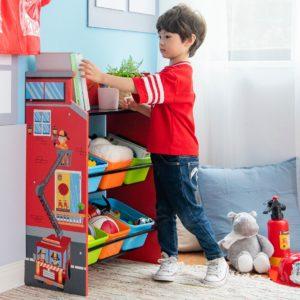 etagère pompiers pour jouets