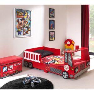 lit camion de pompier jeune enfant