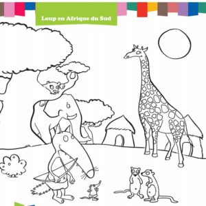 coloriage petit loup p'tit loup auzou en afrique du sud collection voyage