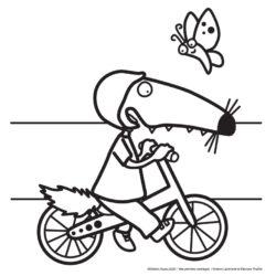 coloriage p'tit loup pour maternelle petit loup fait du vélo