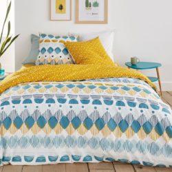 housse de couette imprimée fantaisie ado bleu et jaune 140 x 200, 200 x 200 et 220 x 240
