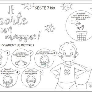 coloriage masque covid 19 gestes barrieres enfant ecole