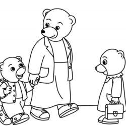 coloriage 1er jour d'école de petit ours brun avec sa maman