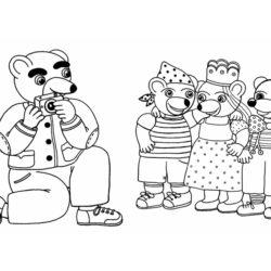 coloriage le papa de petit ours prend ours brun en photo