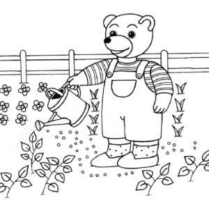coloriage petit ours brun arrose le jardin