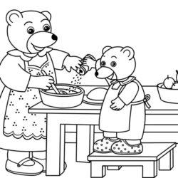 coloriage petit ours brun cuisine avec sa maman