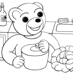 coloriage petit ours brun cuisine et essore la salade