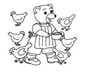coloriage petit ours brun donne à manger aux poules
