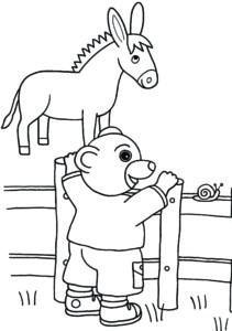coloriage petit ours brun et son âne