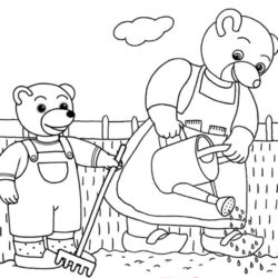 coloriage petit ours brun jardine avec sa maman