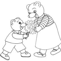 coloriage petit ours brun offre des fleurs à sa maman cadeau fête des mères