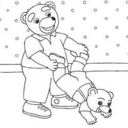 coloriage petit ours brun s'amuse avec son papa