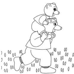 coloriage petit ours brun sur les épaules de son papa