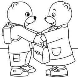 coloriage petit ours brun va à l'école avec son amie