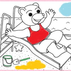 coloriage petit ours fait du tobogan