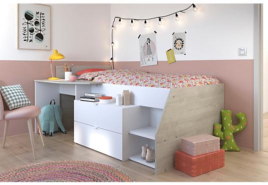 lit combine enfant, lit surelevé, lit compact, lit mezzanie enfant, junior, ado – lit pour petit chambre, gain de place