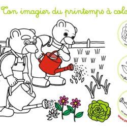 petit ours brun coloriage jardinage avec son papa