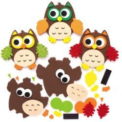activité manuelle automne les hiboux en mousse à coller pour les petits