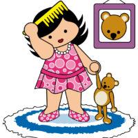 clipart petite fille qui se coiffe