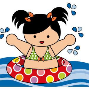 image petite fille dans piscine