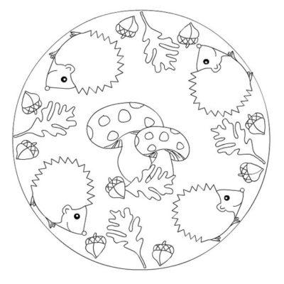 mandala automne à colorier hérissons