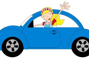 clipart gratuit fille et voiture depart vacances