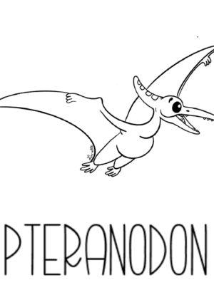 dessin coloriage dinosaure pteranodon copyright Lin'ette illustratrice
