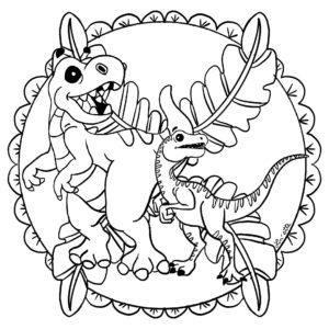 mandala dinosaure copyright Lin'ette