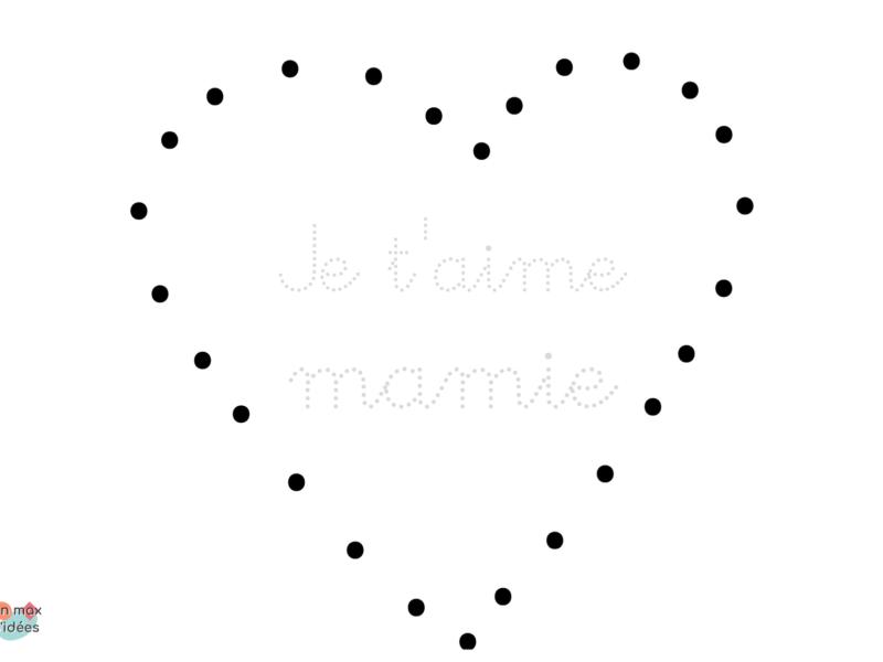 carte je t'aime mamie à décorer avec des gommettes