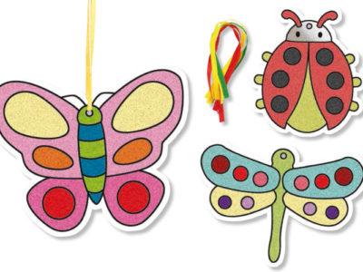 décorer des insectes avec du sable ou des paillettes kit créatif